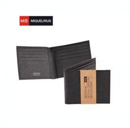 Πορτοφόλι Miquelrius Just Black για 6 Κάρτες με Πλενόμενο Χαρτί