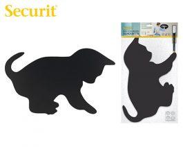 Μαυροπίνακας Υγρής Κιμωλίας Securit Γάτα με Αυτοκόλλητα και Μαρκαδόρο 28.8 x 48 cm