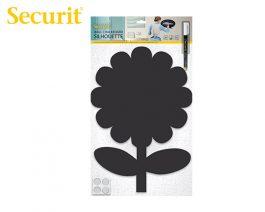 Μαυροπίνακας Υγρής Κιμωλίας Securit Λουλούδι με Αυτοκόλλητα και Μαρκαδόρο 42.6 x 27.7 cm
