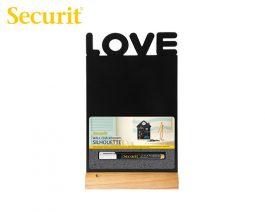 Μαυροπίνακας Υγρής Κιμωλίας Securit Love με Ξύλινη Βάση Τραπεζιού 34.5x21cm