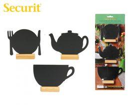Μαυροπίνακας Υγρής Κιμωλίας Securit Διάφορα Σχέδια με Ξύλινη Βάση Τραπεζιού 9 x 13.5 cm (3τεμ)