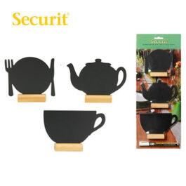 Μαυροπίνακας Υγρής Κιμωλίας Securit Διάφορα Σχέδια με Ξύλινη Βάση Τραπεζιού (3τεμ)