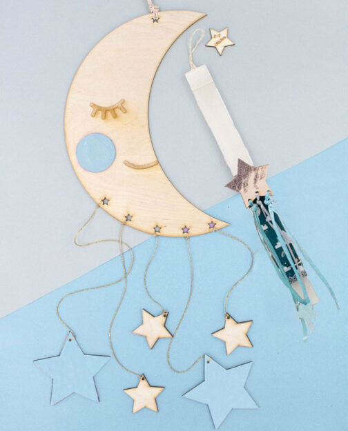 Λαμπάδα Φεγγάρι με Κρεμαστά Αστέρια Αγόρι