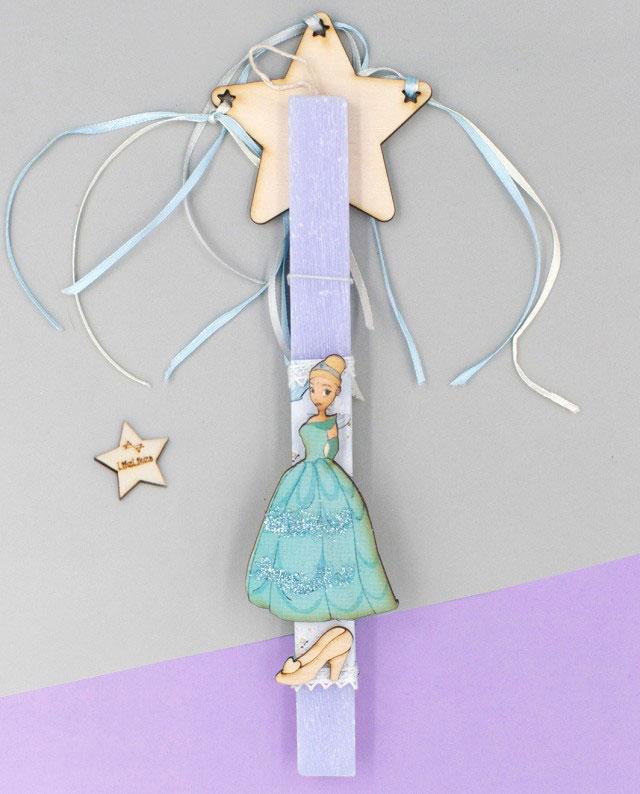 Λαμπάδα Γαλάζια Πριγκίπισσα Ραβδί