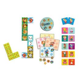 Djeco Σετ 3 Επιτραπέζια Παιχνίδια Ντόμινο Μπίνγκο Μέμο Little friends