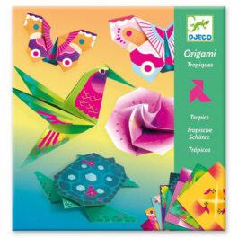 Κατασκευή Οριγκάμι Djeco Νέον Χρώματα Τροπικά Ζωάκια και Λουλούδια